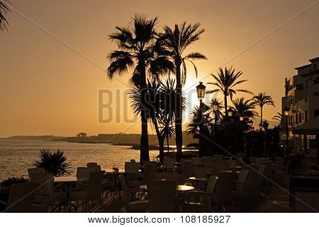 Puerto Banus at sunset.