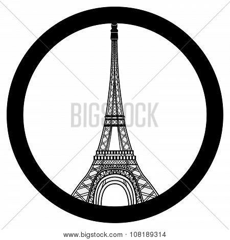 Peace for Paris symbol Eiffel Tower. Pray for the victims of terrorism attack vector. poster