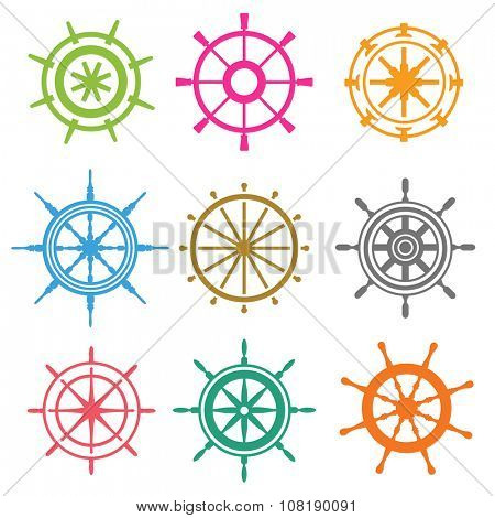 Vector rudder flat icons. Rudder wheel illustration. Boat wheel control rudder vector icons. Rudders ships sea, wheel, round, control, yacht, cruise. Rudder icon. Wheel icons. Rudder wheel isolated