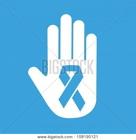 Stop cancer medical logo icon concept. Cancer ribbon, breast cancer awareness symbol, isolated on background. Vector cancer ribbon people cancer and human hand Stop symbol. Clinics concept logo icon