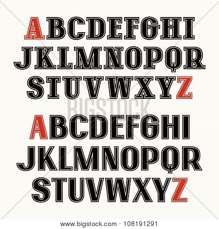 Set Of Uppercase Font With Contour