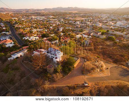 Namibia: Windhoek aerial view of Schwerinsburg Castle