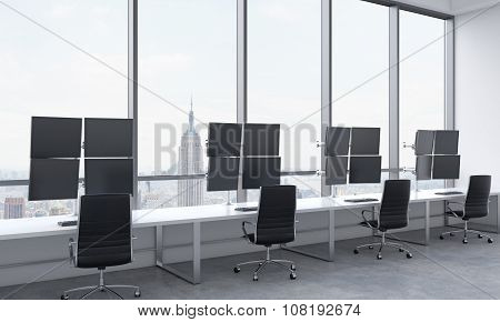 A modern trader's workplaces in a bright modern open space office. White tables equipped with modern trader's stations and black chairs. New York in the panoramic windows. 3D rendering. poster