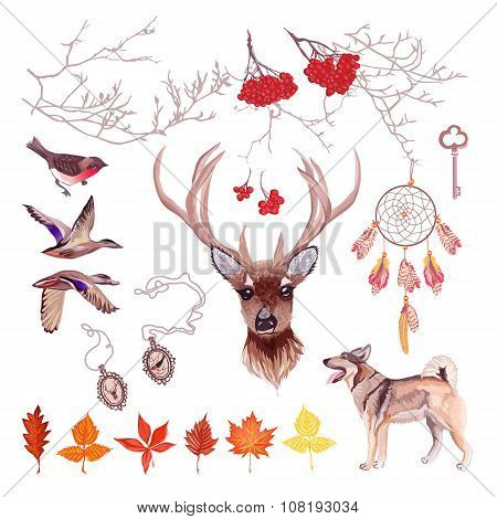 Autumn Hunting Vector Design Set. All Elements Isolated And Editable.