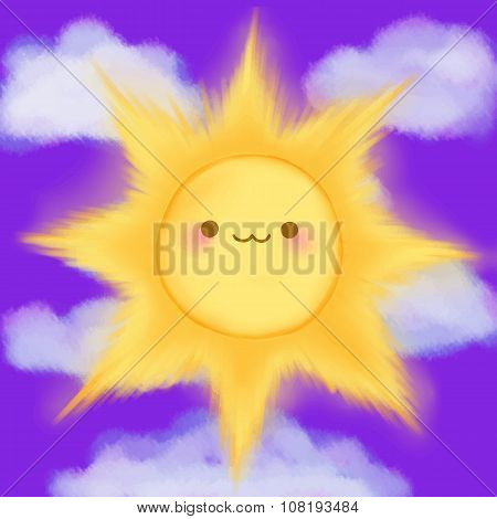 Cute cartoon smiling sun clouds sky kawaii anime manga poster