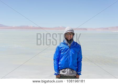Portrait Of Woman In The Cold Of The Bolivian Andes