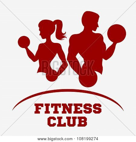 Silhouette Of A Man / Athlete And Slender Woman With Dumbbells.