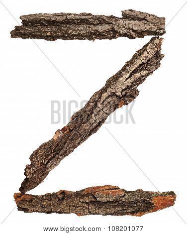 Alphabet from bark tree. Letter Z
