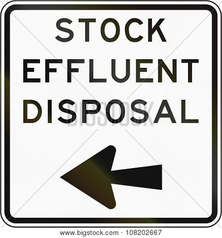 New Zealand Road Sign - Stock Effluent Disposal Point, Turn Left