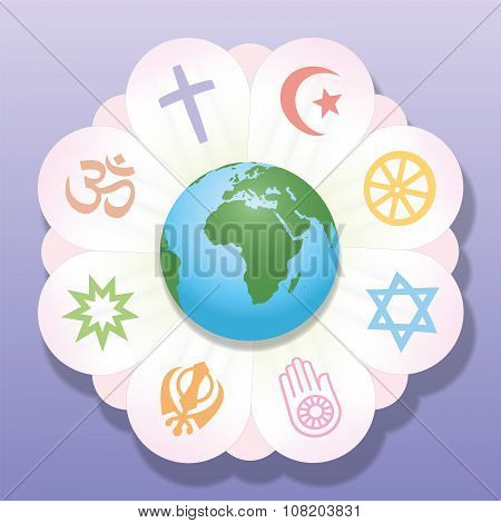 Religions United World Flower Peace Symbols