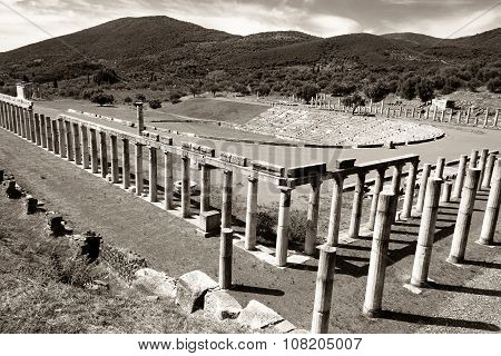 stadium in the city of Ancient Messina, Peloponnes, Greece, black and white photo