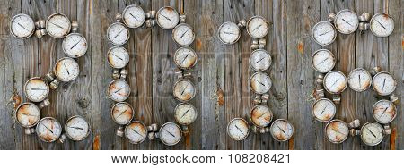 new year background, year's 2016 with industry background, Tool or auto parts on wooden background