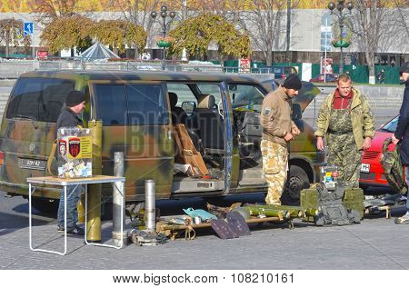 KIEV , UKRAINE - NOV 1, 2015. Flea market in downtown. Marauder sale Ukrainian Civil War military items. November 1, 2015 in Kiev, Ukraine