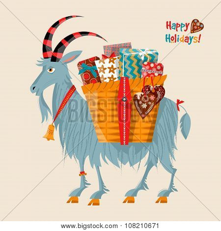Scandinavian Christmas Tradition. Yule Goat (christmas Symbol) With A Gift Basket.