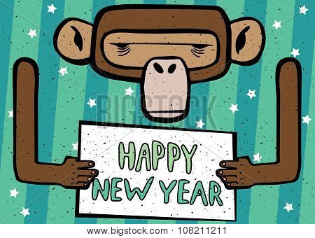 Happy New Year Comic Monkey