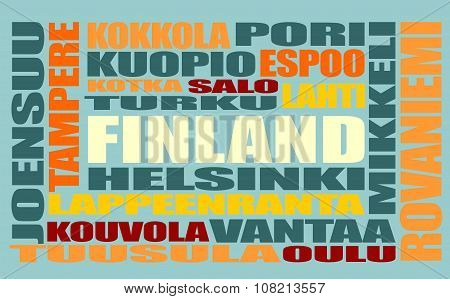 Finland cities list in words cloud. Multi color words on blue background. poster
