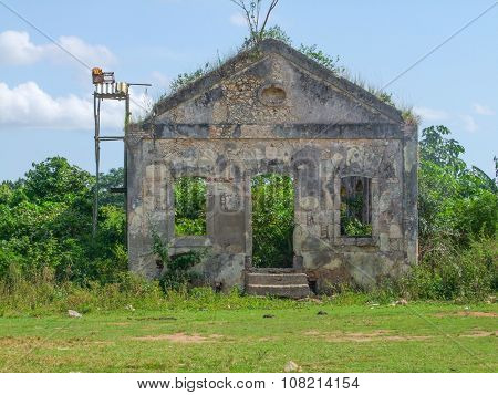 Rundown House Facade In Cuba