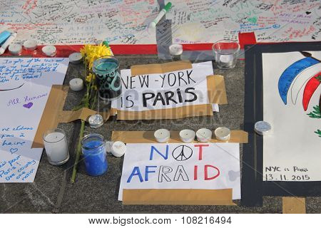 France Terrorist Attacks, Vigil in new york city