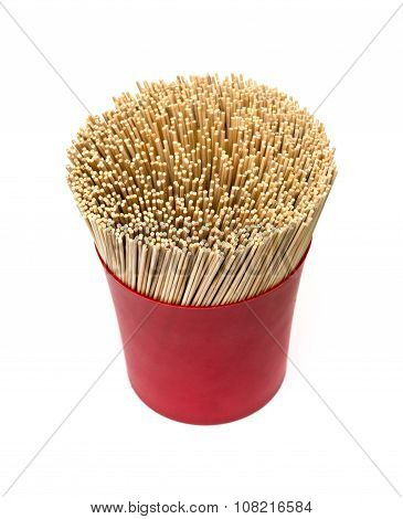 Kitchen Utensils Pile Of Bamboo Sticks Or Wooden Skewers Used To Hold Pieces Of Food Together.