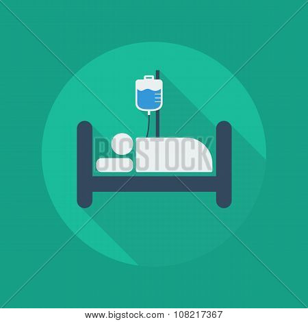 Medical Flat Icon. Hospital Bed
