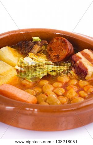 Madrid stew on earthenware pot, spanish food