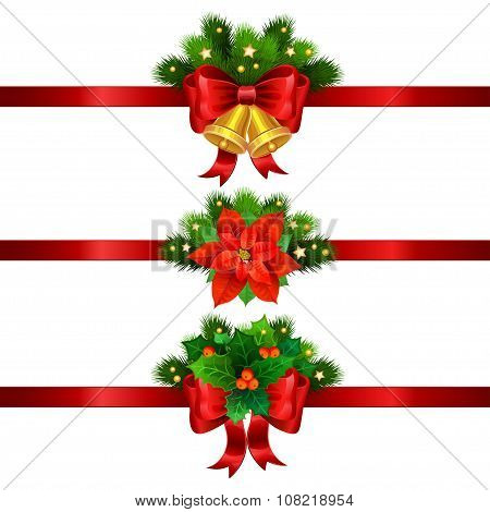 Christmas Festive Decoration From Christmas Tree Branches, Christmas Star, Holly And Gold Bells