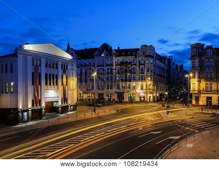 Theater Rialto In Katowice In The Evening.