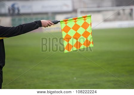 Soccer Referee Hold The Flag. Offside Trap