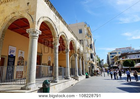 Heraklion, Greece - May 12: The Street In Herakllion City And Tourists On May 12, 2014 In Heraklion,