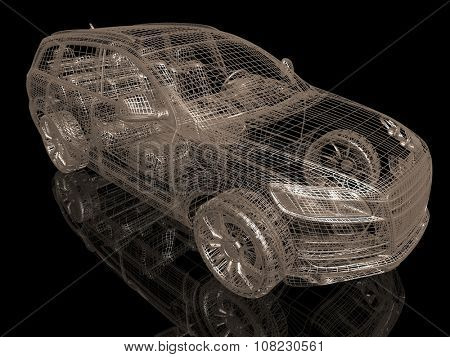 Car model on black background with reflection