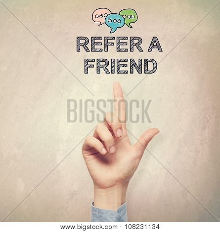Hand Pointing To Refer A Friend Concept