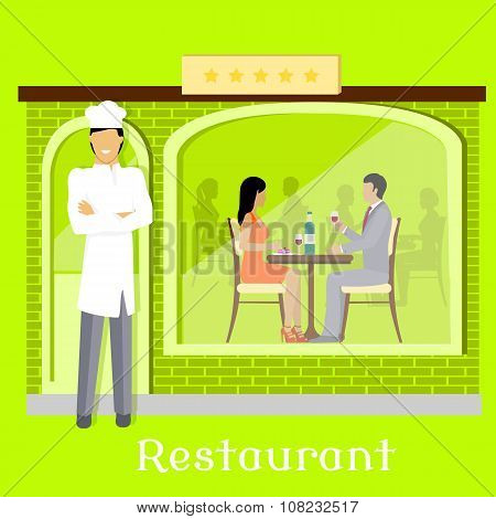 Urban Restaurant Facade with Customers