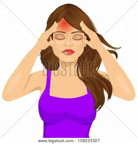 poster of portrait of woman touching her temples suffering a terrible and painful headache isolated over white background