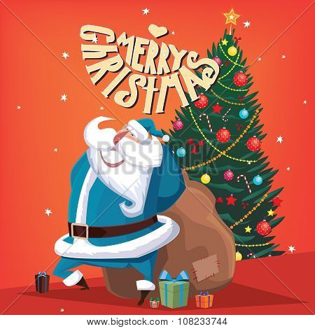 Greeting card Merry Christmas Santa Claus with gift bag and spruce poster