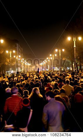 Vicenza, Vi, Italy. 15Th November, 2015, Many People Marching In Memory Of The Victims Of Terrorist