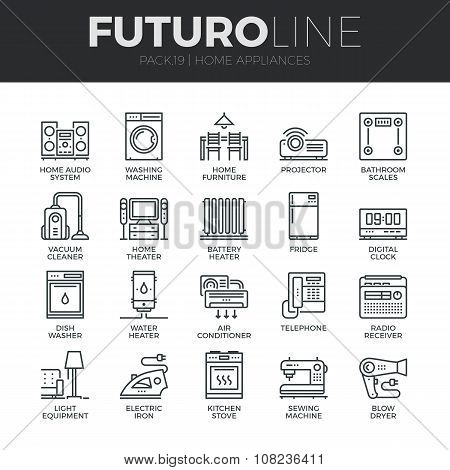 Home Appliances Futuro Line Icons Set