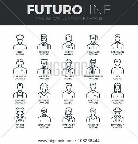 People Avatars Futuro Line Icons Set