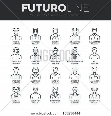 People Avatars Futuro Line Icons Set