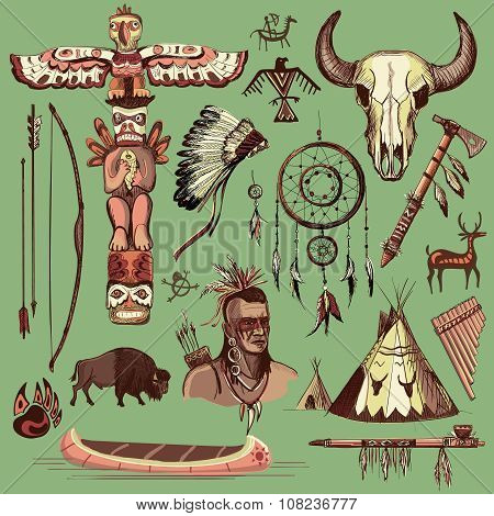 Collection of hand drawn wild west american indian icons with tomahawk, canoe, piece pipe, wigwam, feather headdress, longbow and arrow, brown