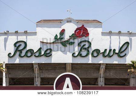 PASADENA, CALIFORNIA, USA - June 28, 2014:  Historic Rose Bowl stadium sign in Pasadena near Los Angeles, California.