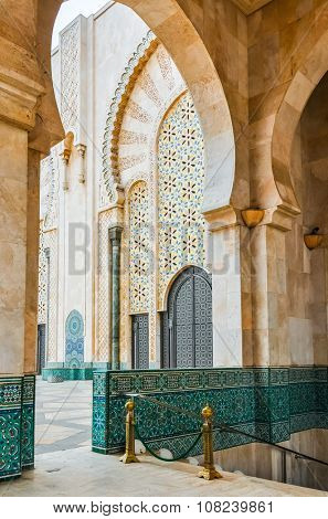 CASABLANCA, MOROCCO, APRIL 2, 2015: Hassan II Mosque or Grande Mosquee Hassan II by misty morning