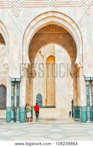 CASABLANCA, MOROCCO, APRIL 2, 2015: Tourists visit Hassan II Mosque or Grande Mosquee Hassan II