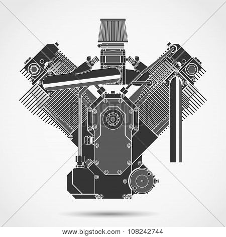 Motorcycle engine. Vector