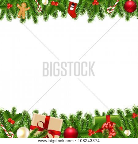 Merry Christmas Borders With Gradient Mesh, Vector Illustration
