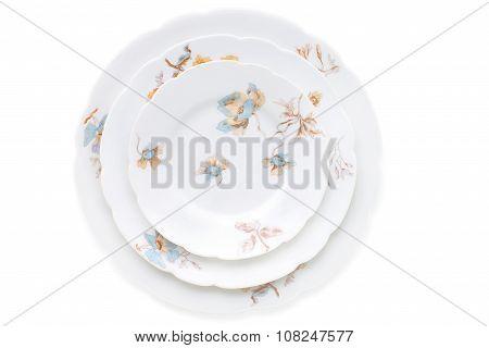 Set Of Antique Porcelain Plates