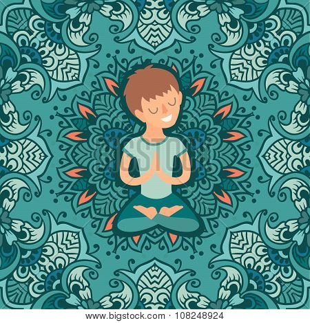 Kid in the lotus position