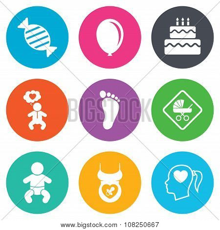 Pregnancy, maternity and baby care icons. Candy, strollers and pacifier signs. Footprint, birthday cake and heart symbols. Flat circle buttons. Vector poster
