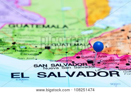 Nueva San Salvador pinned on a map of America