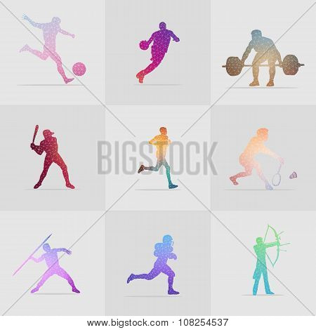 Set Of 9 Colorful Polygon Sport Illustration