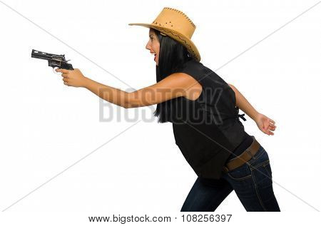 Young woman with gun isolated on white poster